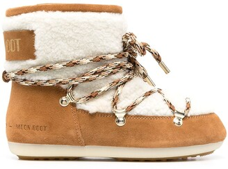 Moon Boot Shearling-Trimmed Lace-Up Boots