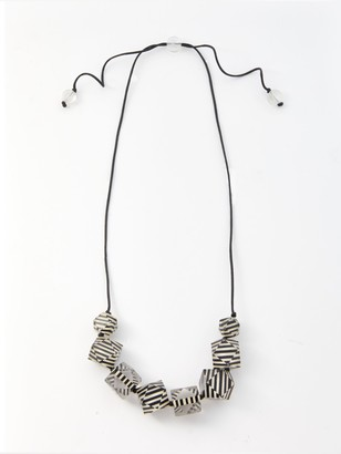 One Button Clear Stripe Abstract Bead Statement Necklace, Black/White