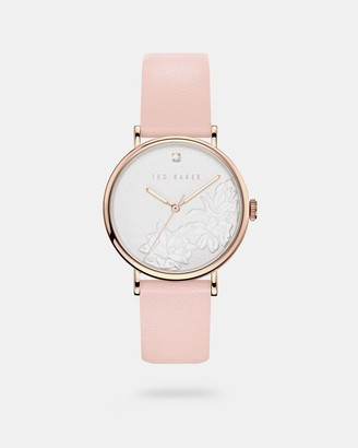 Ted Baker Embossed Dial Leather Strap Watch