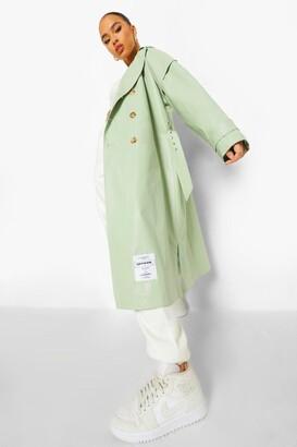 boohoo Pu Oversized Trench Coat