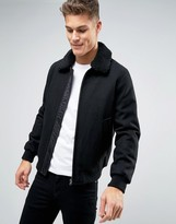 Asos Wool Mix Bomber Jacket With Fleece Collar In Black