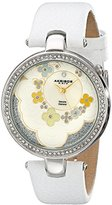 Akribos XXIV Women's AK601WT Lady Diamond Flower Dial Swiss Quartz Leather Strap Watch