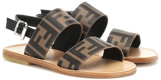 Fendi Kids Logo leather sandals