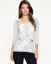 Le Château Floral Crêpe & Knit High-Low Sweater
