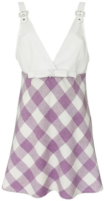 Lalipop Design Lilac Tartan Mini Gilet Dress With Vegan Leather Top