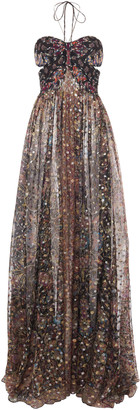 Etro Printed Cutout Halterneck Silk-Chiffon Maxi Dress