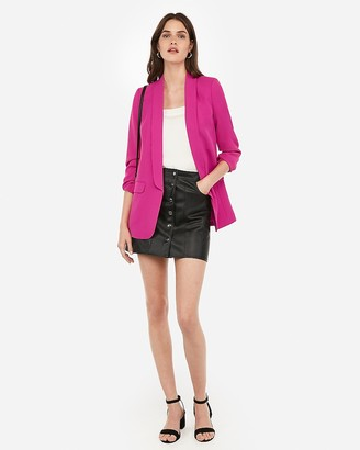 Express Shawl Collar Ruched Sleeve Boyfriend Blazer
