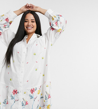 ASOS DESIGN Curve embroidered button through pephem mini shirt dress in white