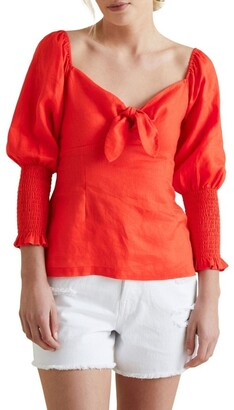Seed Heritage Bow Front Linen Blouse