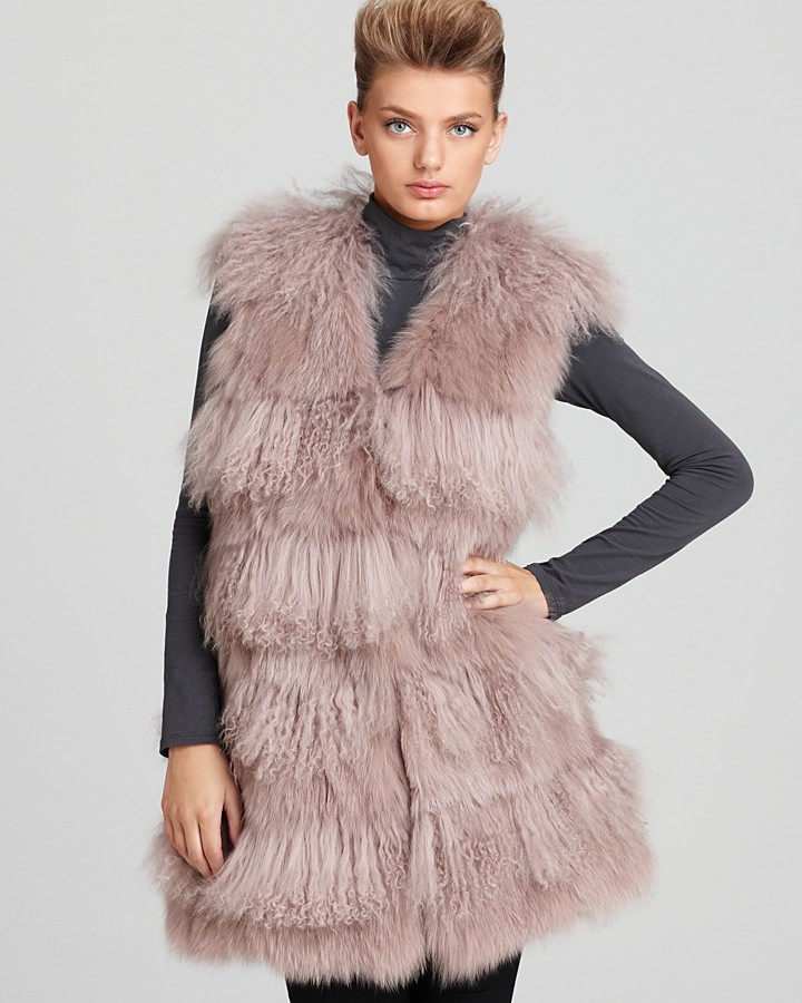 "Maximilian Christian Cota for 32"" Fox, Tibetan Lamb & Rabbit Fur Vest"