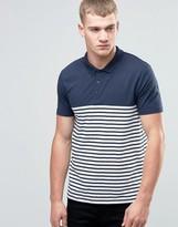 Asos Breton Stripe Polo Shirt In Navy