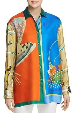 Max Mara Cabina Color-Blocked & Printed Silk Blouse