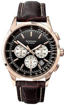 Sekonda 3413.27 Chronograph Leather Strap Watch, Brown/black