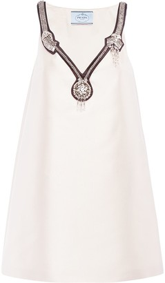 Prada Embellished-Neck Cocktail Dress