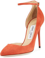 Jimmy Choo Lucy Half-d'Orsay Suede Pump, Coral