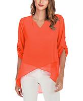 Suvimuga Women's Blouses Orange - Orange Roll-Tab Cross-Hem Notch Neck Top - Women & Plus
