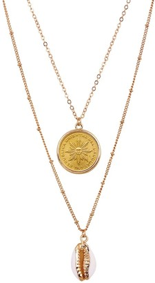 American Coin Treasures Sun Coin with Gold Plated Cowrie Shell Double Chain Necklace