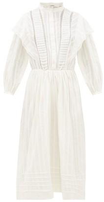 Etoile Isabel Marant Paolina Striped Cotton Midi Dress - Womens - White