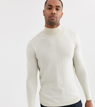 ASOS DESIGN Tall cotton roll neck in oatmeal
