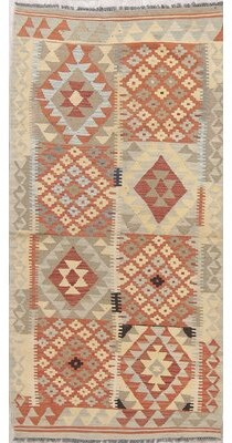 "Loon Peak One-of-a-Kind Carnesville Kilim Oriental Modern Handwoven Flatweave Runner 3'2"" x 6'9"" Wool Cream/Coral Area Rug"