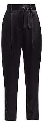 Mason by Michelle Mason Women's Crop Silk Paperbag Trousers