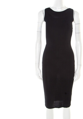 Valentino Black Stretch Knit Sleeveless Lace Insert Bodycon Dress M