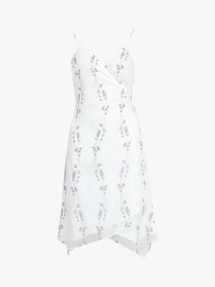 AllSaints Zia Varansai Floral Wrap Dress, Chalk White
