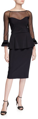 Chiara Boni Boat-Neck Sheer-Yoke 3/4-Sleeve Illusion Dress w/ Velvet Stripe