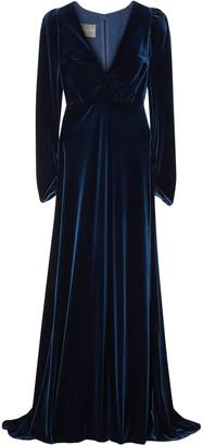 Monique Lhuillier Wrap-effect Stretch-velvet Gown