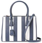 Prada Galleria Striped Double Zip Saffiano Leather Tote