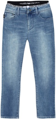 Emporio Armani Kids Logo stretch-cotton jeans