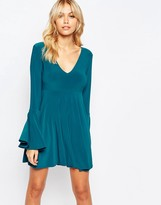 Love Plunge Front Mini Skater Dress With Fluted Sleeve