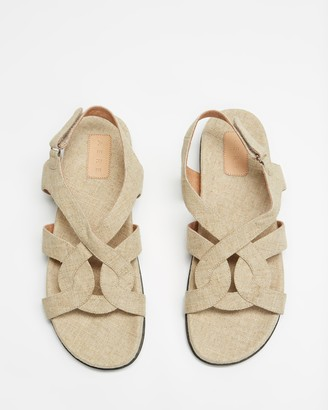 AERE - Women's Grey Sandals - Linen Footbed Sandals - Size 5 at The Iconic