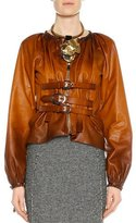 Tom Ford Zip-Front Buckled Leather Degrade Jacket, Cognac