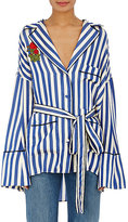 Off-White Women's Embroidered Satin Pajama-Style Blouse
