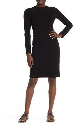 Vince Solid 3/4 Sleeve Sheath Midi Dress
