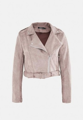 Missguided Taupe Faux Suede Bonded Biker Jacket