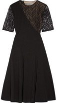Jason Wu Lace-paneled Stretch-ponte Dress - Black
