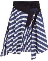 Sacai Cole Asymmetric Pleated Striped Cotton Skirt
