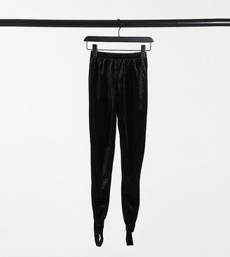 Noisy May Petite velvet stirrup leggings in black