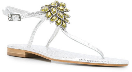 Thumbnail for your product : Emanuela Caruso Glitter Leather Thong Sandals