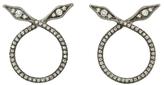 Cathy Waterman Crossed Diamond Leaves Hoop Earrings - Platinum