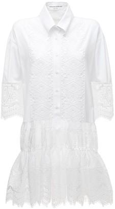 Ermanno Scervino Embroidered Cotton Lace Mini Dress