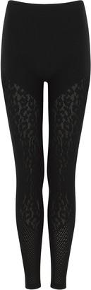 Wolford Cheetah Black Pointelle-knit Leggings