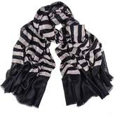 Black and Ivory Striped Cashmere Shawl