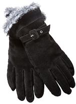 Faux Fur Trim Suede Gloves, Black
