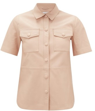 Stand Studio Danna Short-sleeved Leather Shirt - Light Pink