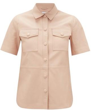 Stand Studio Danna Short-sleeved Leather Shirt - Womens - Light Pink