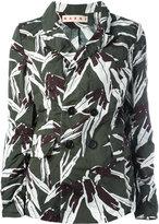 Marni leaf pattern blazer - women - Cotton/Linen/Flax - 42