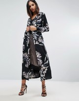 Missguided Floral Print Duster Coat